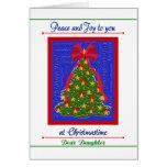 Tarjeta del árbol de navidad para la paz y la aleg