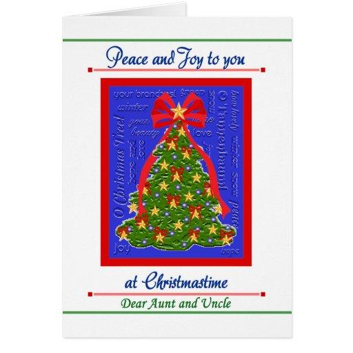 Tarjeta del árbol de navidad para tía y tío Peace