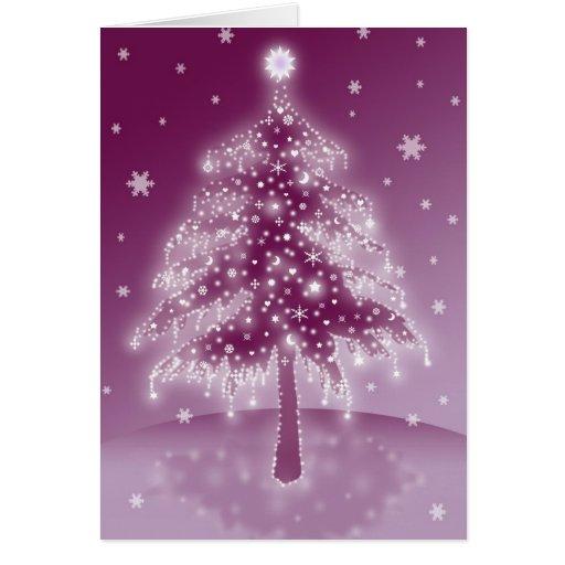 Tarjeta del árbol de navidad que brilla