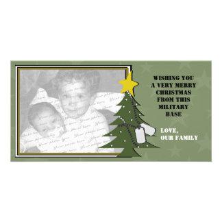 Tarjeta del árbol de navidad y de la foto de las p tarjetas fotográficas