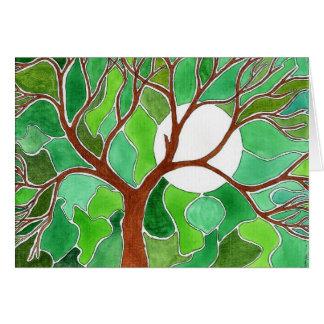 Tarjeta del árbol y de la luna - verde