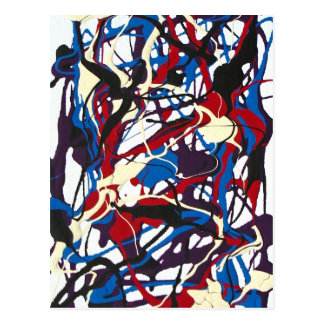 Tarjeta del arte abstracto azul, rojo, negro, tarjeta postal