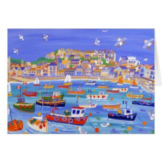 Tarjeta del arte: Barcos en el puerto, St Ives
