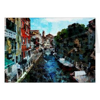 Tarjeta del arte de Italia del canal de Venecia