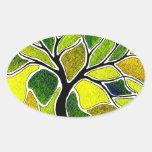 Tarjeta del arte del árbol del verde amarillo calcomanías de ovales