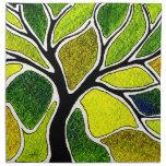 Tarjeta del arte del árbol del verde amarillo servilleta de papel
