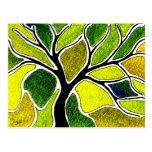 Tarjeta del arte del árbol del verde amarillo postales