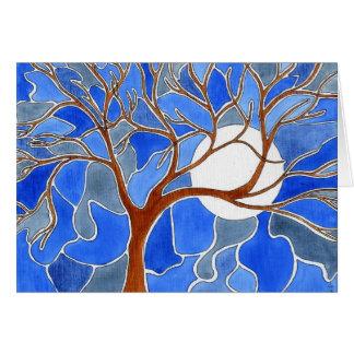 Tarjeta del arte del árbol y de la luna - azul