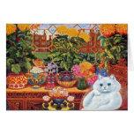 Tarjeta del arte del gato del botánico de Louis Wa