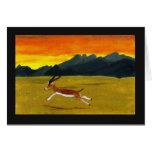 Tarjeta del arte del Gazelle de la puesta del sol