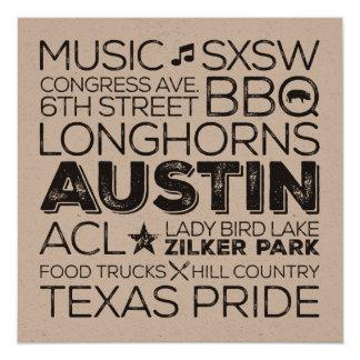 """Tarjeta del arte del subterráneo de Austin Tejas Invitación 5.25"""" X 5.25"""""""