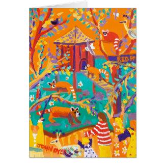 Tarjeta del arte: Pandas rojas de relajación