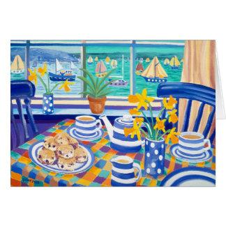 Tarjeta del arte: Teatime de Cornualles (azul de C