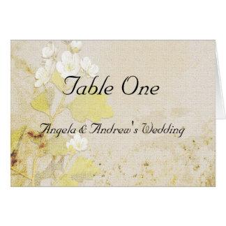 Tarjeta del asiento de la tabla de las flores blan