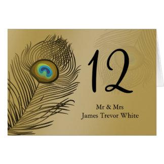 tarjeta del asiento de la tabla del boda del pavo