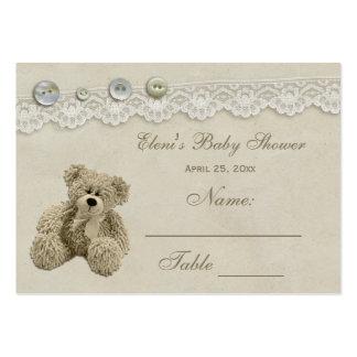 Tarjeta del asiento del cordón del vintage del oso tarjetas de visita grandes