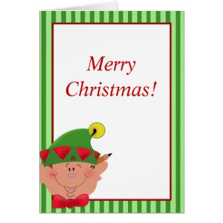 Tarjeta del ayudante de Santa del DUENDE del navid