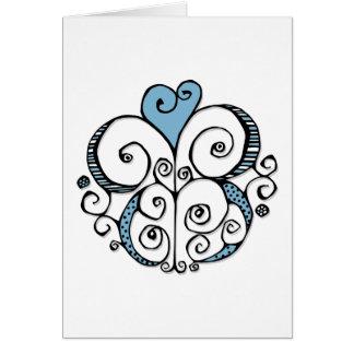 Tarjeta del azul del adorno del corazón