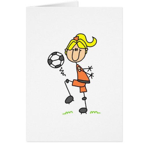 Tarjeta del balón de fútbol del chica que hace jue