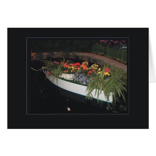 tarjeta del barco de la flor