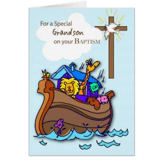 Tarjeta del bautismo del nieto con la arca de