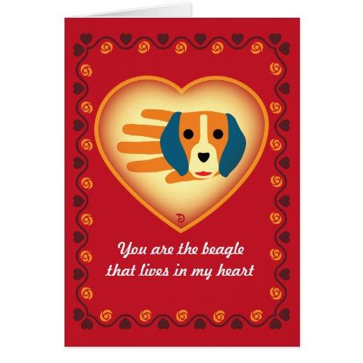 Tarjeta del beagle de la tarjeta del día de San Va