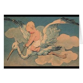 Tarjeta del bebé de la cigüeña del vintage