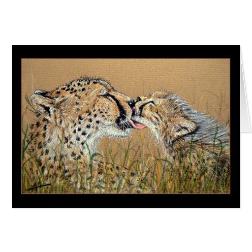 Tarjeta del beso del guepardo de felicitación blan