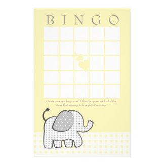 Tarjeta del bingo del amarillo del elefante de la  papeleria personalizada