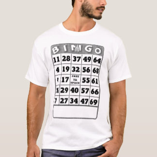 Tarjeta del bingo del vintage playera