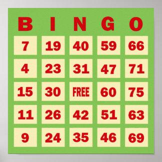 Tarjeta del bingo poster
