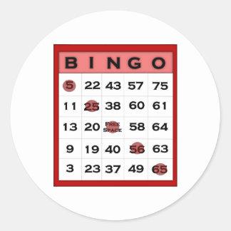 tarjeta del bingo pegatina redonda