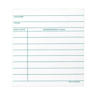 Tarjeta del bolsillo de la biblioteca - azul blocs de notas