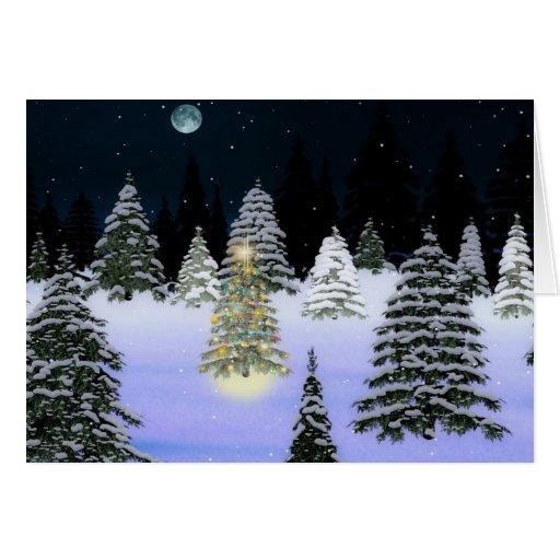 tarjeta del bosque del árbol de navidad