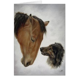 Tarjeta del caballo y del perro