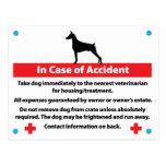 Tarjeta del cajón del perro en caso de urgencia: D Postal