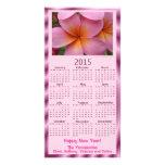 Tarjeta del calendario del Plumeria 2015 del rosa Tarjeta Con Foto Personalizada