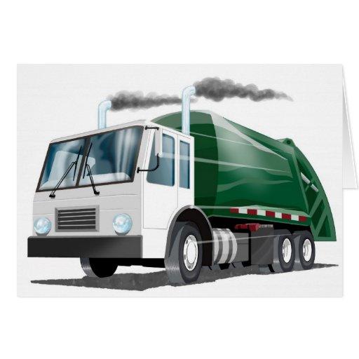 Tarjeta del camión de basura de los niños