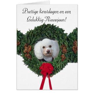 Tarjeta del caniche del navidad del kerstdagen de