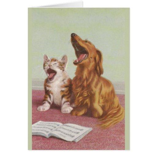 Tarjeta del canto del perro y del gato del vintage
