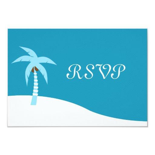 Tarjeta del Caribe azul de RSVP de la palmera Invitación 8,9 X 12,7 Cm