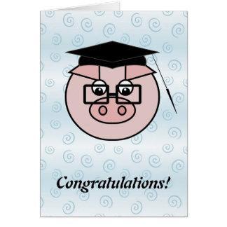 Tarjeta del cerdo de la graduación