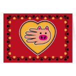 Tarjeta del cerdo de la tarjeta del día de San