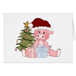 Tarjeta del cerdo del árbol de navidad