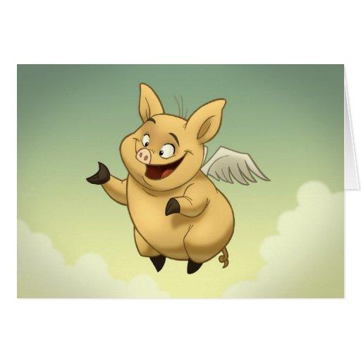 Tarjeta del cerdo del vuelo