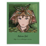 Tarjeta del chica de la naturaleza poster