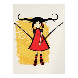 "Tarjeta del chica del samurai invitación 6.5"" x 8.75"""