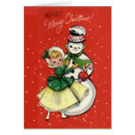 Tarjeta del chica y del muñeco de nieve del vintag