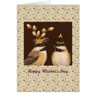 Tarjeta del chickadee del día de madre