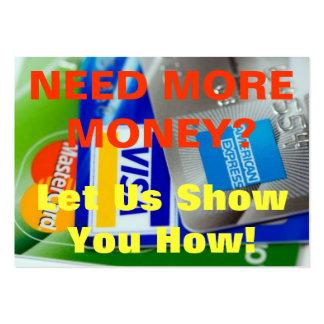 ¿Tarjeta del chisporroteo - necesite más dinero? Tarjetas De Visita Grandes